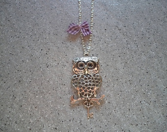 Pretty OWL necklace in silver metal mesh fine trace