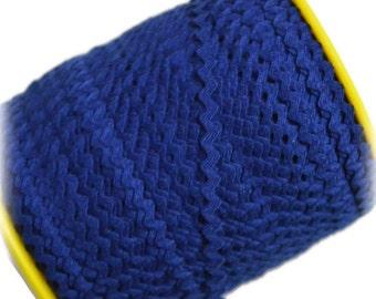 """Narrow Royal Blue RicRac. 3/16"""" Royal Blue Ric Rac Trim. Skinny Royal Blue Ric Rac. Scalloped Royal Blue Trim. 3 Yards"""