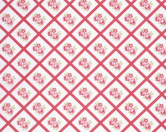 SALE!! Red Libby Fabric - Lulu Roses Collection - Tanya Whelan - Free Spirit - Shabby Chic Fabric - Tanya Whelan Fabrics - Lulu Roses Fabric