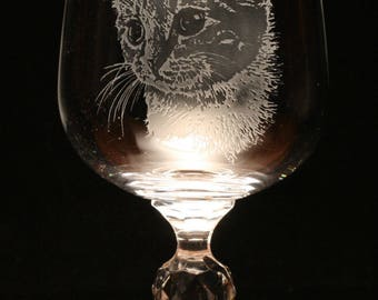 Cat Kitten Pet Engraved Crystal Wine Glass Gift Present