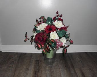 Cemetery Flowers, Cemetery Decoration, Cemetery Vase, Memorial Vase, Maroon Rose and Hunter Green Rose, Memorial Day Flowers FF748
