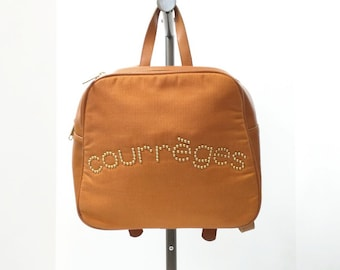 Vintage 90s Courreges Brown Logo Backpack Purse