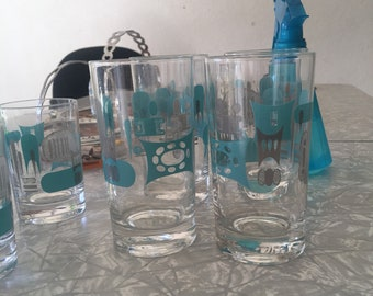 Tall Blue Heaven juice glasses