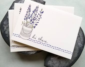 Texas  bluebonnets note cards - bluebonnet card set - wildflower notecards - blank floral greeting cards - Texas wild flowers - hi there