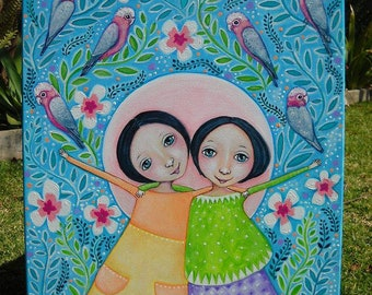 Twin Girls and Parrots Acrylic Painting Twin Art by Lindy Longhurst Galah Art Parrot Painting Best Friends Wall Art Original Gift For Friend