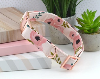 Dog Collar - Watercolor Floral Cotton Fabric Dog Collar - Pinks/Coral Flower Print Dog Collar - Fashion Dog Collar - Rose Gold Hardware