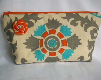 Large Flat Bottom Cosmetic Bag in Gray Mod Floral Print...The Adelaide Collection