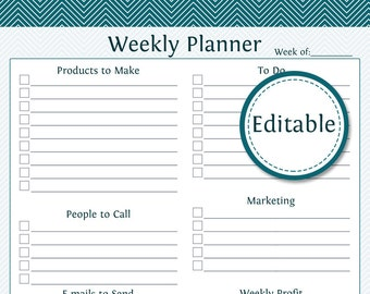 Weekly Business Planner - Fillable - Business Planner - Printable Organizational PDF - Instant Download