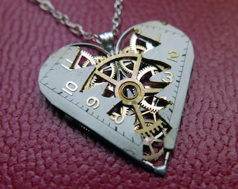 "Elegant Reconstructed Watch Parts Heart Necklace ""Laux"" Pendant Clockwork Mechanical Gear Love Gift Wife Girlfriend Birthday Gift"