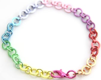 2ps of rainbow bracelet with pink lobster 5514
