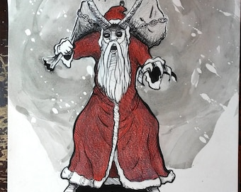 Krampus! Pen and ink w/ colored pencil. Original