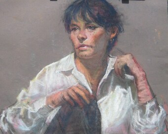 Pastel portrait of Lady in white shirt