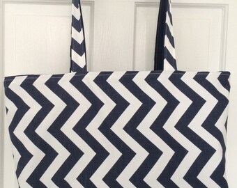 Handmade Tote Bag Navy Blue and White Chevron, SHIPS FREE!