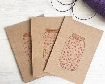 jar of hearts - kilner jar - mason jar - lino carve - block print - handmade - jar of love