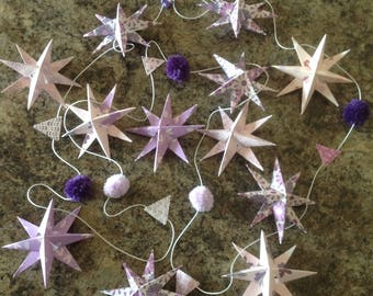 Pink purple and amethyst star and pompom nursery/bedroom garland