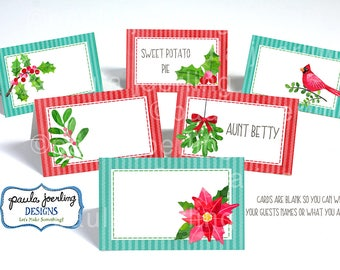 Printable Winter Flora Place Card, Christmas Food Label, Christmas Food Tent Card, Christmas Digital Download, Winter Place Card,