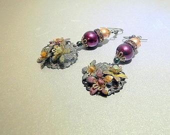 Torch Fired Pastel Enameled Petite Petals Earrings
