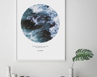 Ocean wall art, Quote wall art, Sea waves print, Inspirational quote print, Abstract wall art, Circle wall art, Sea foam photo, Large Print