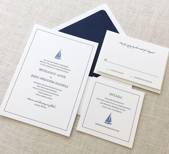 Sailboat Wedding Invitations: Sailboat Wedding Invitation Nautical Wedding Invitation