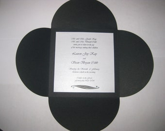 Black and White Classic Envelofold with Swarovski Crystal