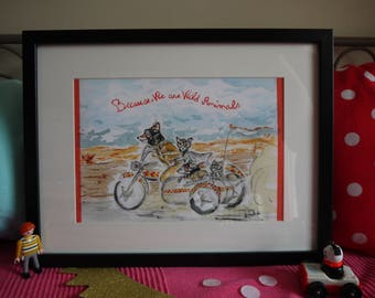 """Fantastic Mr Fox on side as friends """", because we are wild animals"""" with original watercolor print"""