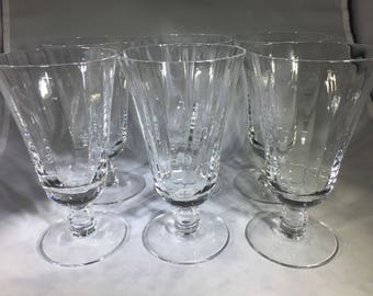 Crystal Water stemware, Glasses, by Fostoria, Silver Flutes pattern with Beaded Stem. Set of 6