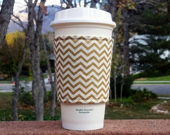 Coffee cozies / fabric coffee cozy / coffee sleeve / coffee cup holder -- Metallic gold and ivory chevron