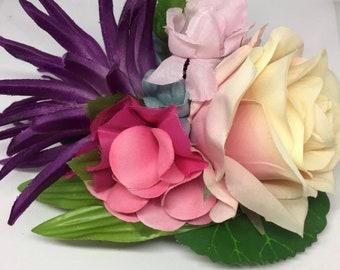 Tropical Dahlia and Rose hair flower