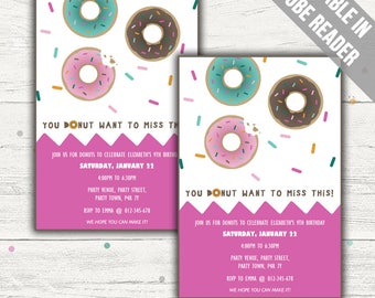 Donut Party Invitation. Editable PDF. Printable. Instant Download.