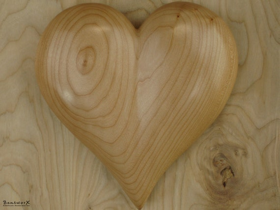 """Special Someone Gift   Carved Large """"Beautiful"""" Wooden Heart   Pacific BigLeaf Maple Heart   Bentworx™"""