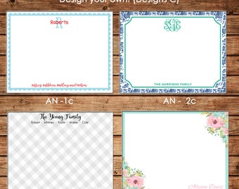 Personalized All Occasion Flat Notes Notecards Stationery with Envelopes - Design your own - Choose ONE DESIGN