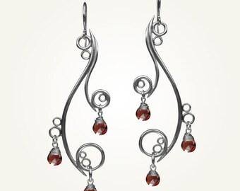 Chandelier Earrings, Dangle Earrings, Spiral Earrings, GREEK ISLE EARRINGS with Garnet.