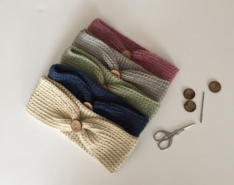 Cozy button headwrap-headband-earwarmer