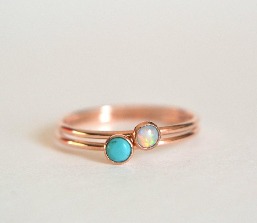 Set of Two 14k ROSE Gold Turquoise Ring 14k Rose Gold Opal