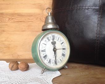 Vintage One Bell Clock, Soft Mint Green Alarm Clock, Mechanical Alarm Clock, Wind-up Clock, Desk Clock Jantar, Manual Winding, Not Working