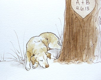Wedding Tree Guest Book Your PET illustration ADD-ON Original Watercolor Painting
