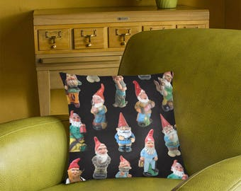 Vintage Garden Gnomes Pillow Cover - photographic gnome fabric - white, black or teal background - 2-sided printing