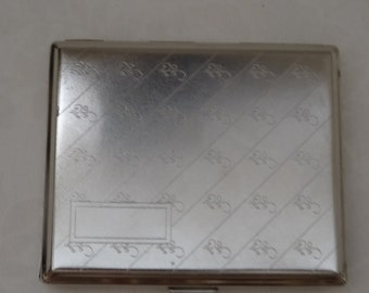 Silver Tone Cigarette Case Etched Pattern