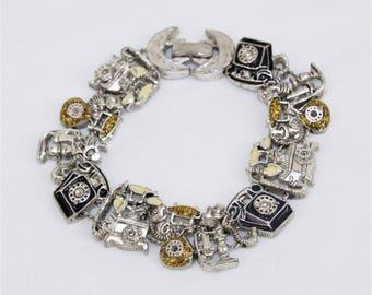 "Vintage Telephone Charm Link Black Gold Enamel Silver Tone Bracelet - 7""  x 5/8"""