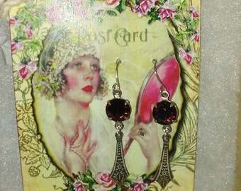 Edwardian Silver Drop Earrings with Ruby Red Swarovski Crystals