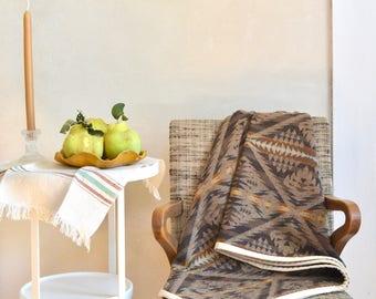 Wool Blanket Native American Design Earthy Gray & Brown Lightweight Throw
