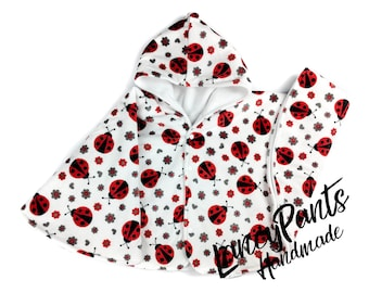 Size 4 ready to ship ladybug soft cuddle minky fleece car seat poncho - winter kids children's poncho -infant poncho - toddler poncho
