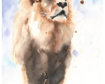 LION KING - watercolor lion print, lion decor, lion wall art, lion watercolor decor, lion art print, lion art nursery, lion artwork