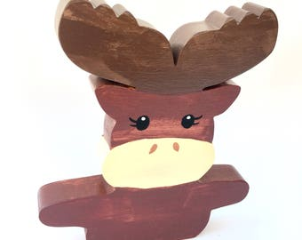 Moose Toy, Wood Moose Decor, Woodland Moose Decor, Christmas Baby Gift,  Christmas
