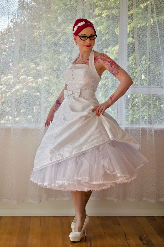 1950 S Rockabilly Glenda Polka Dot Wedding Dress