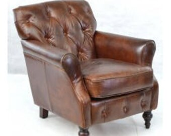 Vintage Brown Leather Button Back Leather Armchair, Fireside Chair, Button Detail Living Room Seating, Antique Styl