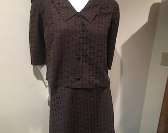 1960s Lane Bryant 2-piece summer suit, vintage size 14 1/2 brown suit, vintage pencil skirt suit, cropped jacket and skirt