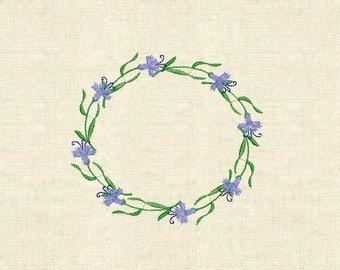 Machine embroidery cornflower, carnation, wild flowers, wreath