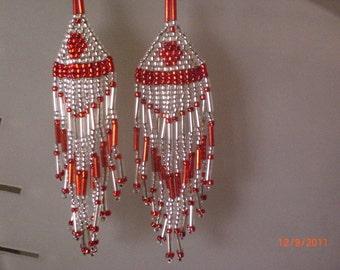 """Red & Silver 3"""" Chandelier earrings"""