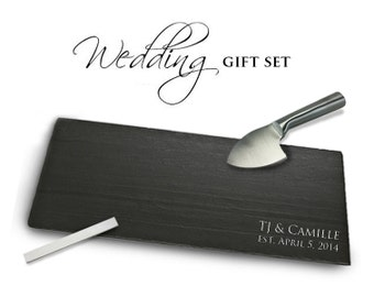 Customized WEDDING Gift Set with Slate, Knife, Chalk, Card & Box!